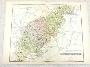 1889 Mappa Antica Di Northamptonshire Northampton Peterborough 19th Secolo