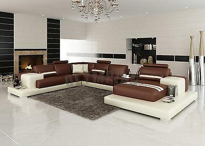 Modern Large LEATHER SOFA Corner Suite NEW Brown & Beige