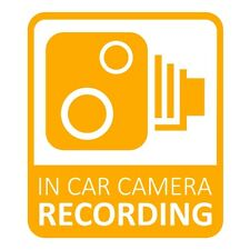 In Car CCTV Camera Recording Dash Cam Car Van Window Bumper Sticker Decal Yellow