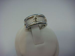 !14K WHITE GOLD WIDE LADIES HEAVY ZODIAC BAND-RING 12.5 GRAMS, SIZE 4.75