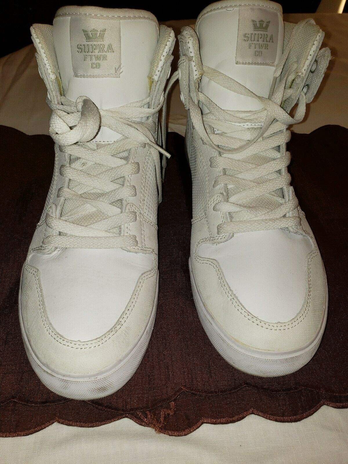 SUPRA MEN'S VAIDER WHITE WHITE MEN SHOES SIZE 13