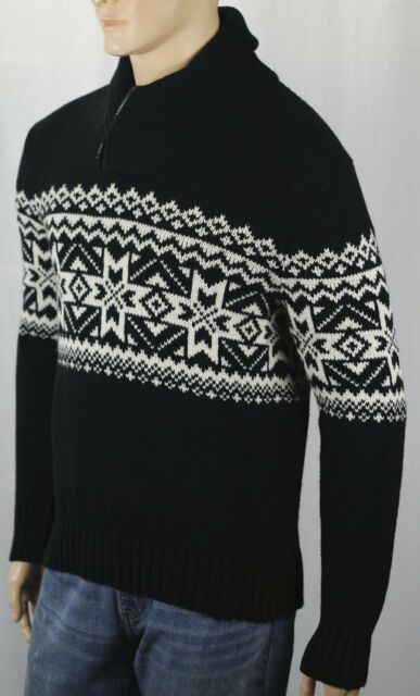 7f22b6f56bdda Polo Ralph Lauren Black White Fair Isle Zip Shawl Collar Sweater XXL ...