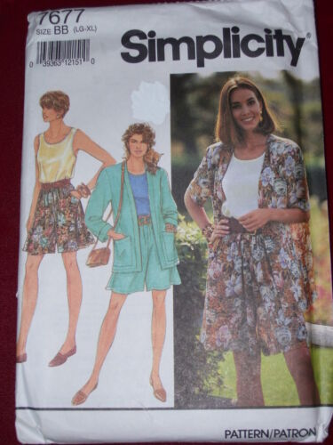SIMPLICITY #7677-LADIES LOOSE FITTING SHORTS-JACKET /& SHELL TOP PATTERN LG-XL FF