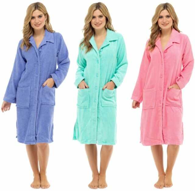 Ladies 100/% Pure Cotton Zip Through Towelling Dressing Gown Robe Tom Franks