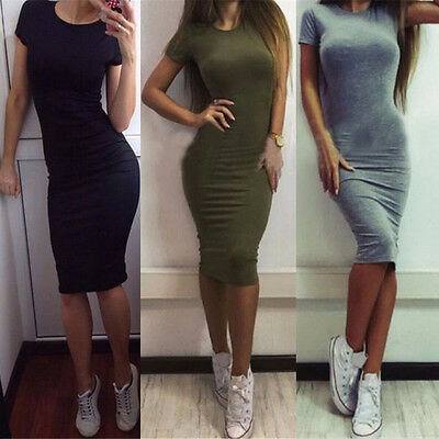 New Womens Slim Fit Sexy Short Sleeve Pencil Dress Sheath Bodycon Casual T-Shirt