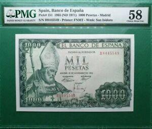1965-SPAIN-1000-PESETAS-MADRID-PMG58-lt-P-151-gt-About-UNC