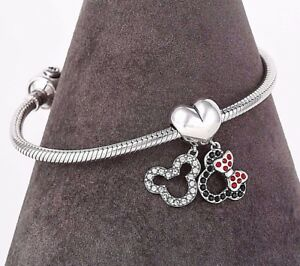 Disney-Mickey-and-Minnie-Silver-Charm-for-European-Bracelet-or-Necklace