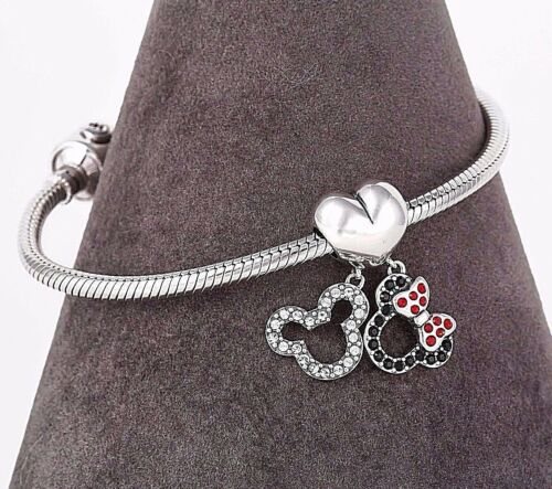 Disney Mickey and Minnie Silver Charm for European Bracelet or Necklace