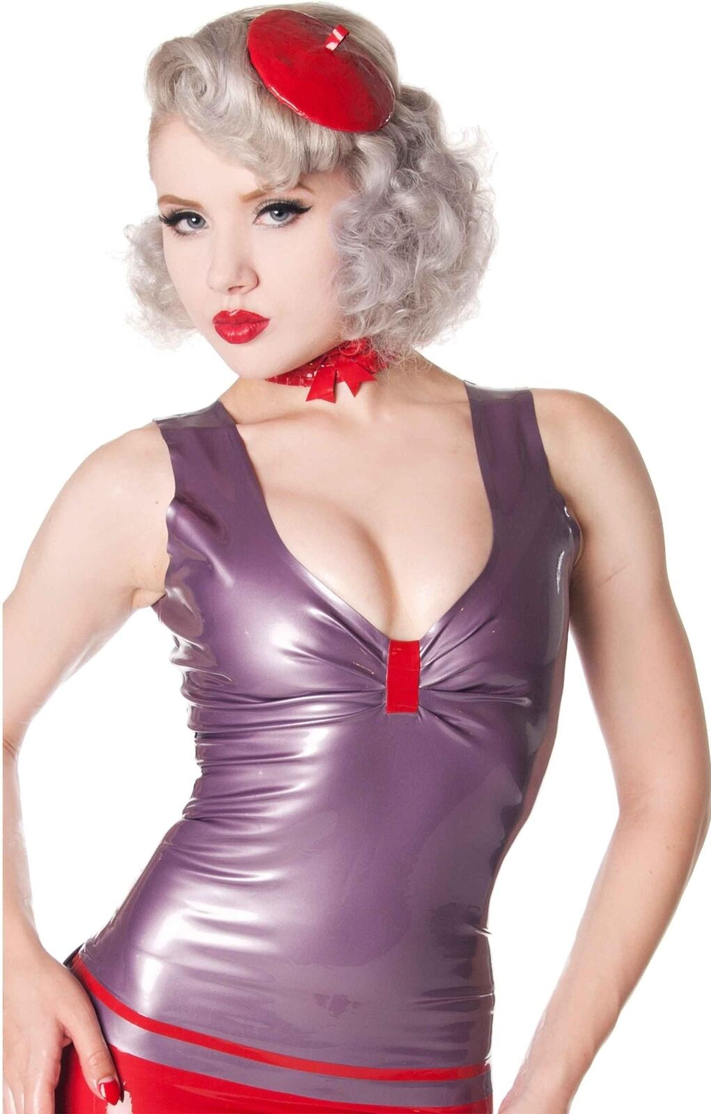 7519570b77 Westward Bound Madame Adelaide Latex Top Pearl Sheen Lilac with with with  rot Trim 201253