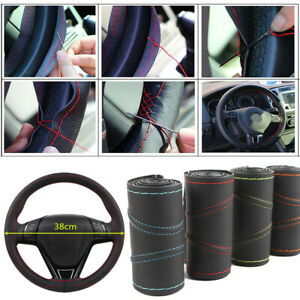 Car-Auto-Needle-38cm-Universal-Real-Leather-DIY-Steering-Wheel-Protection-Cover