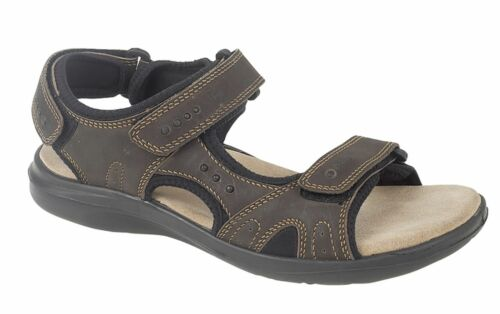 Mens Leather Sports Sandals Touch Fastening 3 Strap Shoes Size