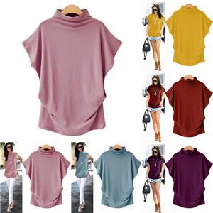 Plus-Size-Women-Turtleneck-Short-Sleeve-T-Shirt-Cotton-Solid-Casual-Blouse-Top