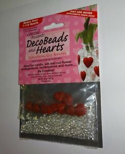 New Crystal Accents Deco Beads and Hearts Expanding Gel Shapes Vase Filler Decor