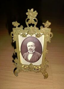 Antique-19th-Century-Victorian-Gilt-Bronze-Ormolu-Picture-Frame-Easel-In-Relief