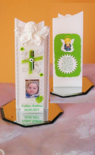 Taufkerze//Kommunionkerze  mit Foto 3D Betende Engel Junge,Mädchen