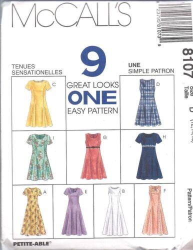 8107 UNCUT Vintage McCalls SEWING Pattern Misses Pullover Dress OOP FF 9 Looks