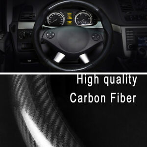1pc 38cm 15 inch non slip black carbon fiber pu leather car steering