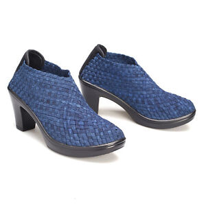 Sassy stretch elastic weave 3 quot heeled ankle boots denim ebay