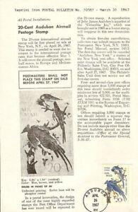 C71-20c-Audubon-Air-Mail-Postal-Bulletin-Reprint-Flat-HC