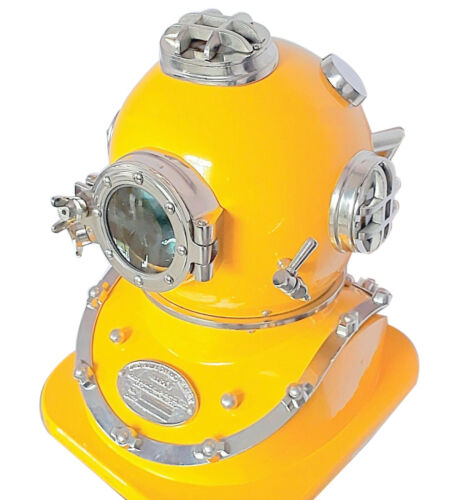 """Reproduction antique vintage yellow diver diving helmet with wooden stand 18/"""""""