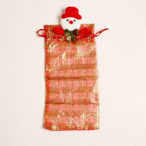 Xmas Wine Bottle Cover Bag Cap Snowman Santa Claus Elk Bear Table Dinner Decor H