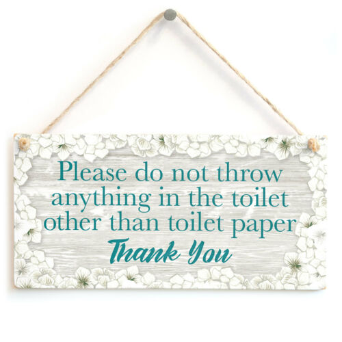 Please do not throw anything in the toilet Warning Sign For Septic Tank WC