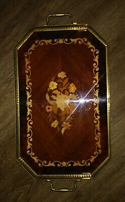 Italian  Inlaid Wood Marquetry Serving Tray with Floral Motif Inlaid Tray with Brass Handles and Trim