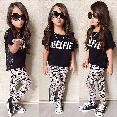 2016 New Toddler Kids Baby Girls Outfit Clothes Suit T-shirt Tops+Long Pants