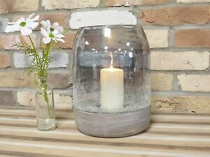 Solid Wood And Cracked Effect Glass Hurricane Candle Holder Large Ebay