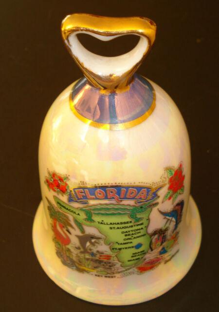 Porcelain Florida Map Bell Flamingo Dolphin Manatee Shinny