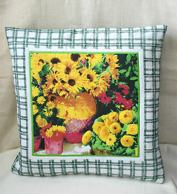 X4 Sunflower Green Yellow Traditional Cushion Covers 16x16 Inch Brand New