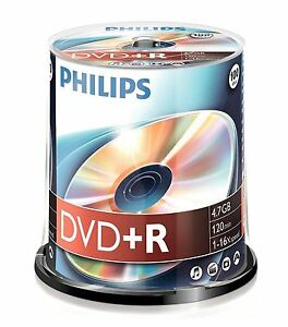 PHILIPS-DVD-R-120-MIN-VIDEO-4-7GB-DATI-16X-VELOCITA-VUOTI-DISC-TORRE-100