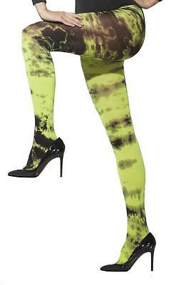23195 Black and green tie dye print zombie opaque tights Halloween