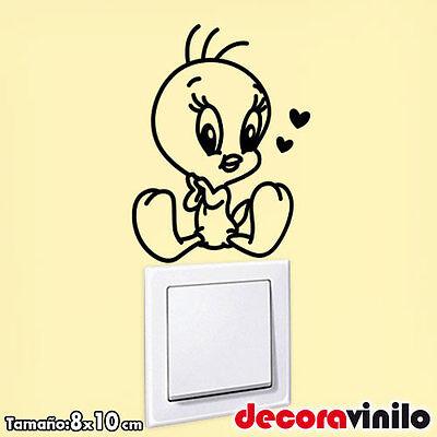 Vinilo decorativo pegatina infantil interruptor enchufe piolin dibujos 8x10