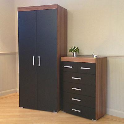 2 Door Wardrobe & 4+2 Chest of Drawers in Black & Walnut Bedroom Furniture 6 Set