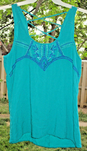 Women's Maurices Teal Blue Sleeveless Top Lace Up Back Rayon Hi Lo Size XL