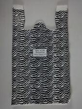 50 Qty Zebra Print Plastic T Shirt Retail Shopping Bags With Handles 115x6x21