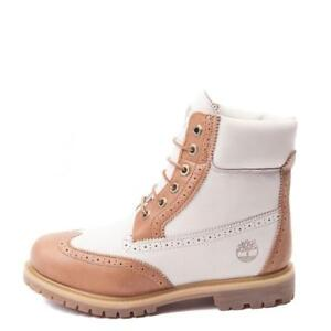 "Timberland 6/"" Premium women boots Brogue Wingtip  A1G6T Tan Off-White"