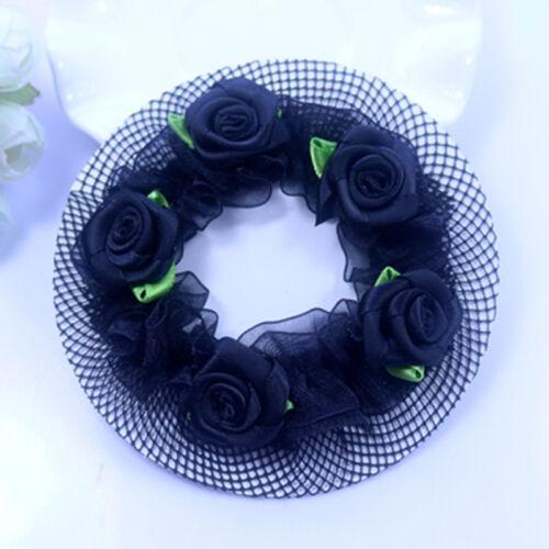 Kids Ballet Flower Bun Garland Hair Nets Hair Top Scrunchie Band Elastic Tools