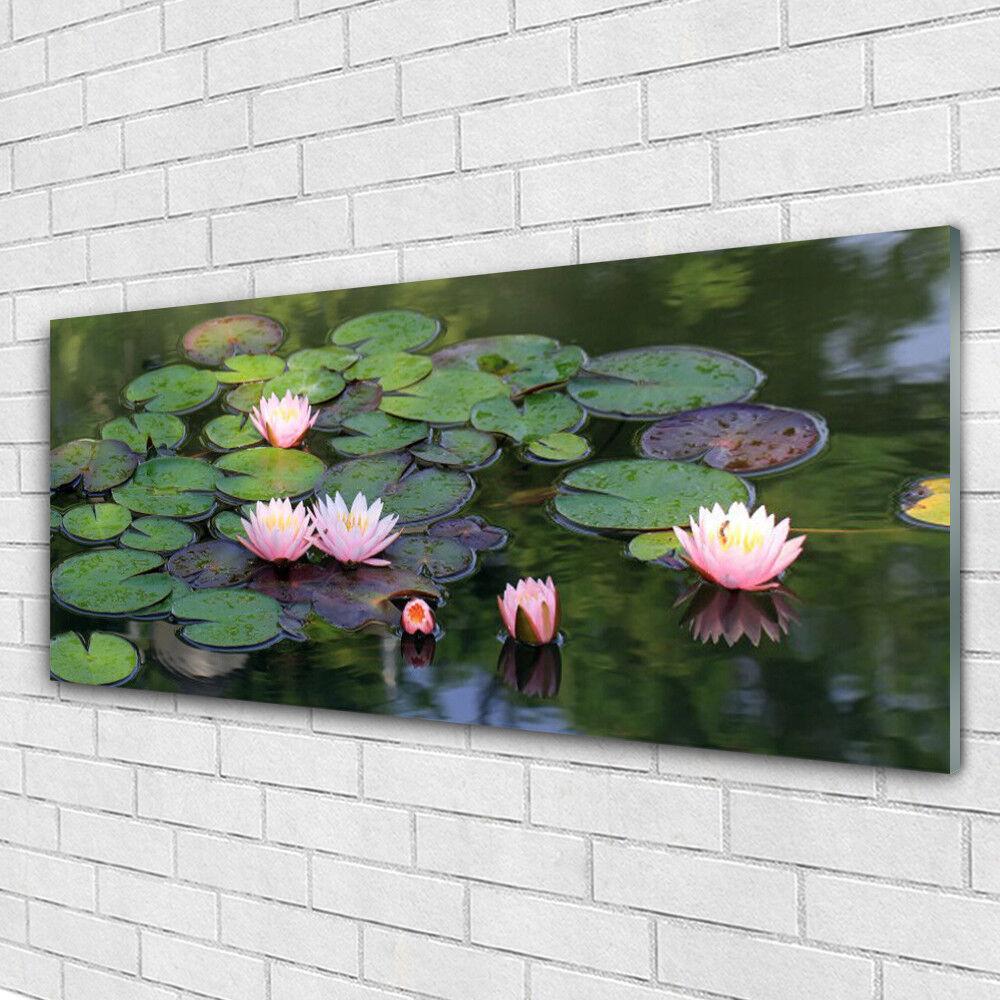 Impression sur verre Image tableaux 125x50 Floral Lac Fleurs