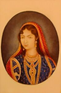 Hand Painted Portrait Maharani Queen Rare Art Work Miniature Tiny Finest Color