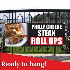 Philly Cheese Steak Roll Ups Advertising Banner Vinyl Mesh Banner Sign Flag