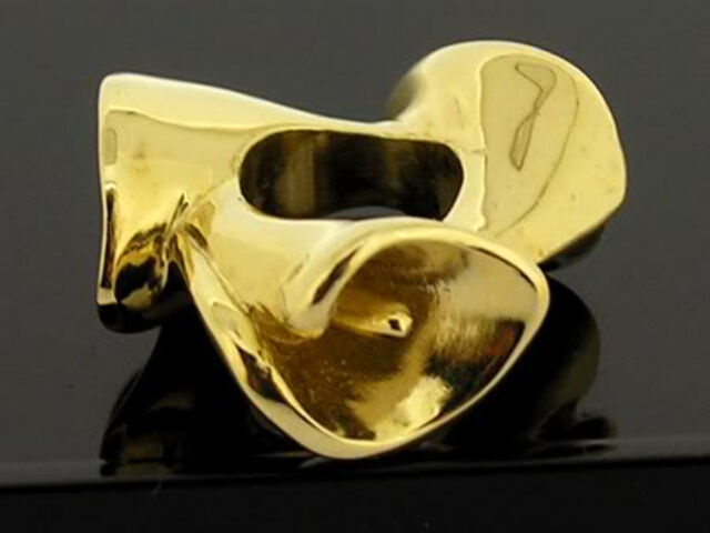 Bd088- Gorgeous REAL 9K 9ct Solid Yellow Gold Heavy Calla Lily Bead Charm