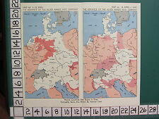WW2 MAP ~ ADVANCE OF ALLIED ARMIES INTO GERMANY APRIL 1-15 ~ 16 APRIL - 1 MAY