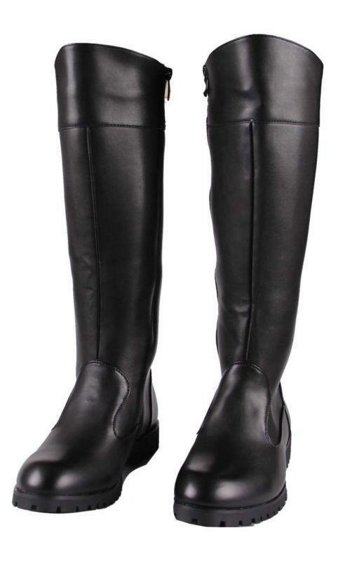 Fashion Mens Leather Zip Punk Knee High Military Riding Boots Punk Zip Black Knight Shoes 94782c