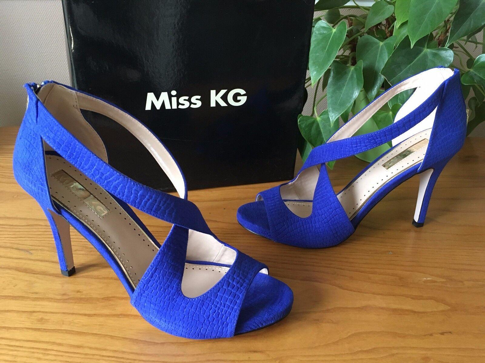 Miss KG Kurt Geiger Shae Blu Finto Scamosciato Peep. TG EU 41 NUOVO con scatola prezzo consigliato