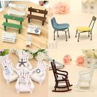 Mini Fairy Garden Wooden Chair Seashore DollHouse Furniture Figurine Craft