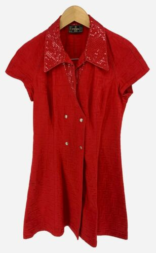 Authentic Vintage FENDI Zucca Dress Tops #44 Red D