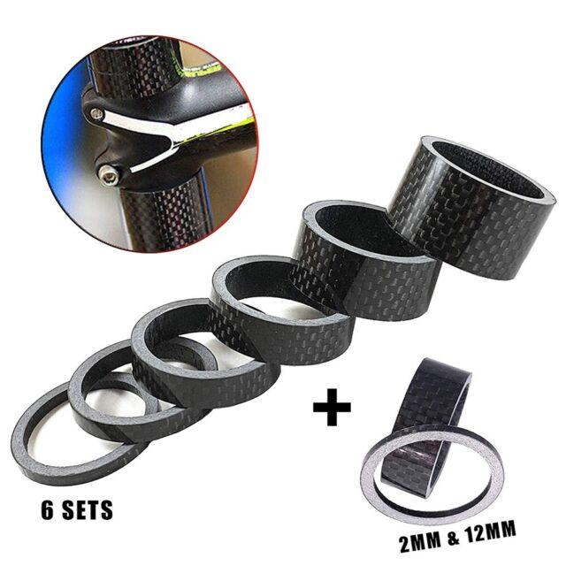 """5Pcs Carbon Fiber Bike Headset Stem 1-1//8/"""" 3//5//10//15//20mm Washer Spacer Set Kit"""