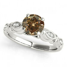 0.81 Ct Fancy Brown Cognac Diamond SI2 Solitaire Promise Ring Stunning 14k Gold